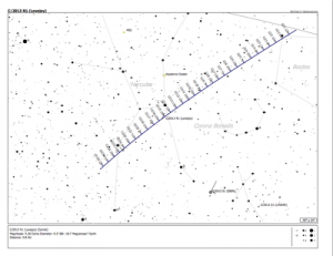 Position of Comet Lovejoy 2013 throughout December.